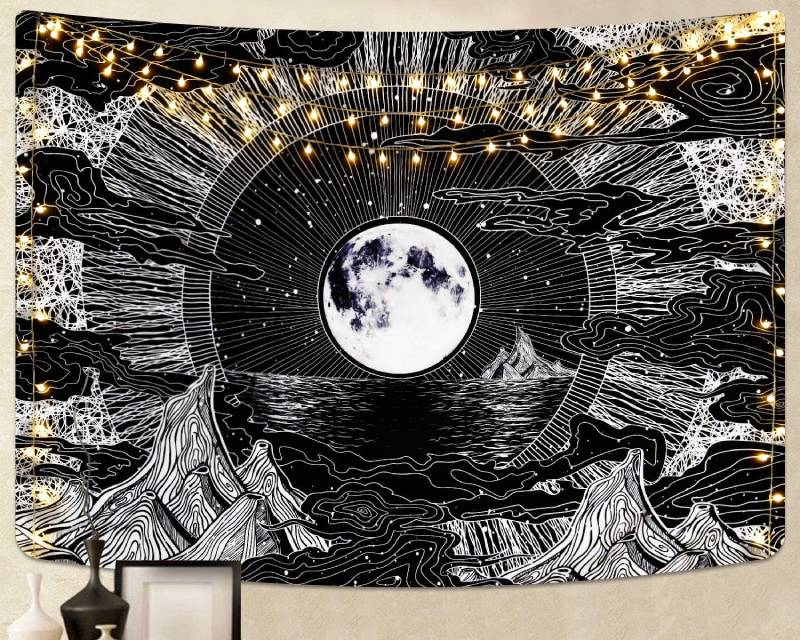 We mentioned fabric wall hangings, but this isn't the same as a tapestry. Tapestries tend to take up the entire wall, and they're a good way to add some texture to the house, which only adds to the ambience with a large moon tapestry! Moon tapestries are trendy and they suit any room in the house, and you can buy handmade ones made with 100% cotton if you want to stay with sustainability in your home.
