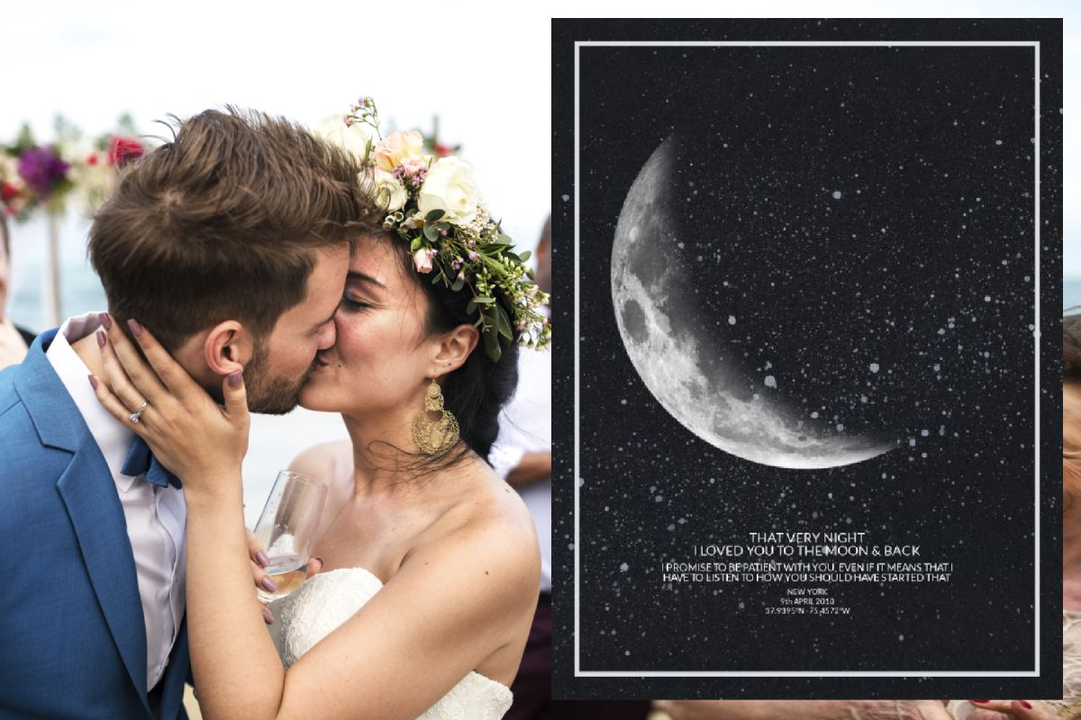 First Wedding Anniversary Gift Idea - Moon Print